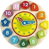 BEILALUNA Numéros Puzzles Jeu Horloge en Bois - Jouets pour Enfants avec Blocs de Numéros et de Formes, Etonnants Jeux de Jouets en Bois ELC Oxford pour Filles et Garçons T004