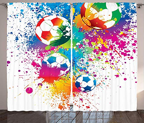 Muccum Sports Decor Curtains Colored Splashes All Over The Soccer Balls Score World Cup Championship Athletic Artful Print Living Room Bedroom Decor Set Inches Multi