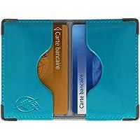 Etui 2 cartes bancaires blindé (anti-RFID) (Bleu Canard)