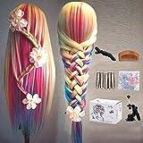 MYSWEETY 29' Multicolor Cabeza de Entrenamiento de Peluquería de Cabello Cabezal de Práctica Modelo Maniquíes de aprendizaje sintético con el pelo largo (con soporte)