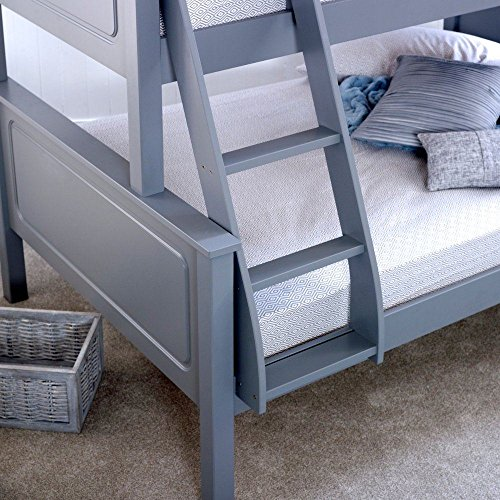 Happy Beds Vancouver Triple Sleeper Bunk Bed Grey Wooden with 2 x Pocket Sprung Mattresses 3' Single 90 x 190 cm Top and 4' Small Double 120 x 190 cm Bottom