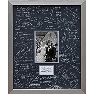 Wedding Guest Book Frames Personalised LARGE - Contemporary alternative to the traditional guest book (Silver-Black-Landscape)