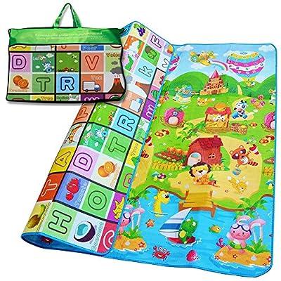 Denny International® Kids Crawling Educational Play Mat 2 Side Game Soft Foam Large Size Picnic Carpet 200X180cm (Play Ground Design)
