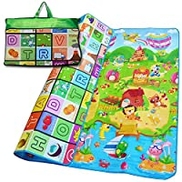 Denny International® Kids Crawling Educational Play Mat 2 Side Game Soft Foam Large Size Picnic Carpet 200X180cm (Play Ground Design)