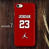 Générique Michael Jordan NBA Air 23 Coque iPhone Chicago Bulls Coque Souple en TPU pour iPhone 5/5s 6/6s iphone 7/8, iPhone X (iPhone 7plus / 8plus, J23)