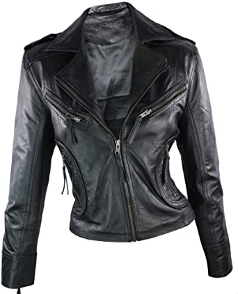 Ladies Short Leather Jacket Fitted Biker Style Black Retro: Amazon ...