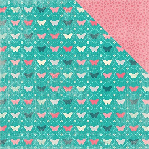 Authentique Paper DAG002 18 Sheet Darling Girl Multi Butterflies Hearts Double-Sided Cardstock, 12 by 12, Teal/Pink by Authentique Paper