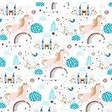 Fabulous Fabrics Baumwollstoff Popeline Einhorn Wunderland