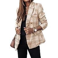 YAOTT Donna Manica Lunga con Revers Cappotto,Elegante Ufficio Business Blazer Top,Slim Fit Giacca A Quadri con Pulsante…