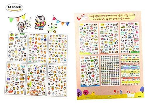 Alimitopia 12Blatt Lovely Karton Cat Transparent Dekorative Aufkleber Katze