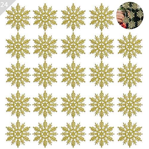 ASANMU Weihnachten Schneeflocken, 24 Stück Glitter Schneeflocken Deko Plastik Aufhängen Weihnachtsbaum Hängende Ornamente Schneeflocke Weihnachtsbaumschmuck Weihnachtsdeko Fensterdeko (Gold, 10 - Jungen Kostüm Schneeflocke