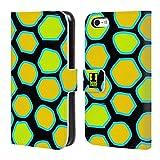 Head Case Designs Schlange Gelb Verrückte Drucke Brieftasche Handyhülle aus Leder für Apple iPhone 5c