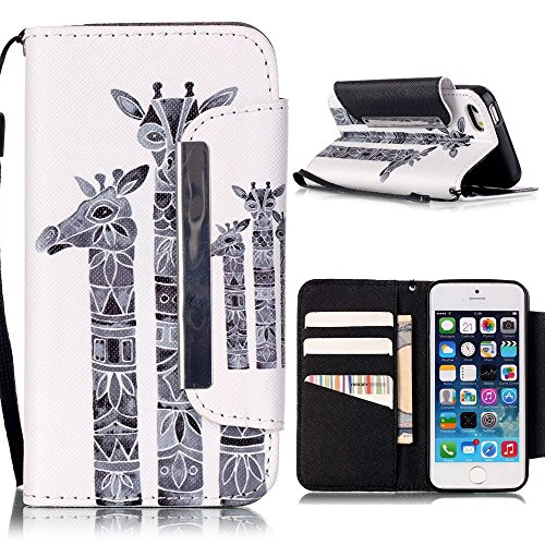 iPhone 5 5S SE Coque,Linvei iPhone 5 5S SE Étui,Linvei Cuir Coque Portefeuille Case avec Silicone intérieure Back cover Pour iPhone 5 5S SE girafe