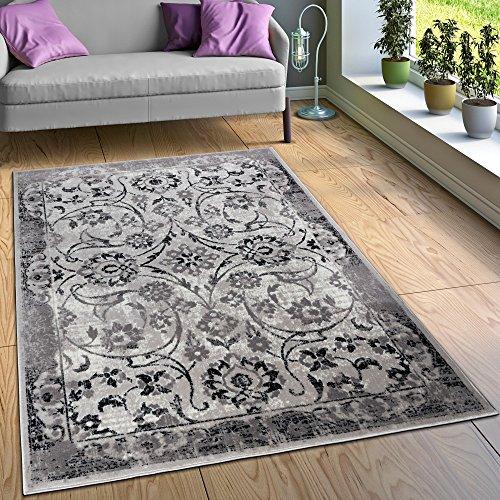Alfombra Diseño Salón Alfombras Floral Aspecto Vintage Contorneada Negro Blanco, tamaño:160x220 cm