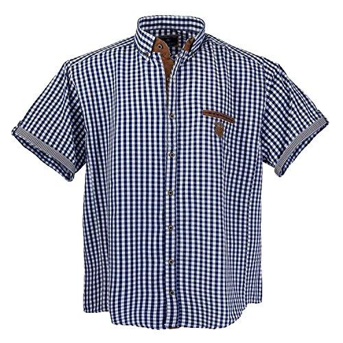 Sportliches Herren kurzarm Hemd von Lavecchia in Übergröße blau weiss kariert Größe: 5XL