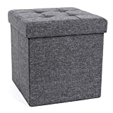SONGMICS Folding Storage Chest Ottoman Footstool Portable Picnic Seat Versatile Space-saving CubesMax Load 300 kg Linenette Dark Grey 38 x 38 x 38 cm LSF82GYZ