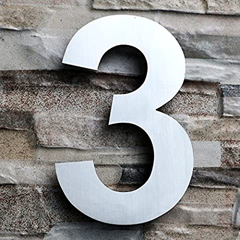 QT Modern House Number - LARGE 20.3 Centimeter - Brushed Stainless Steel (Number 3 Three), Floating Appearance, Easy to install and made of solid