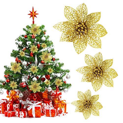 Decareta 24 pezzi fiori per albero di natale artificiale glitter fiore 14cm/10cm/8cm ornamenti per albero di natale glitter fiore artificiale oro per la decorazione dellalbero di natale (oro)