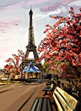 Chan-Mei 3D-große Wallpaper Gemälde europäische Gemälde im Wohnzimmer Stereo Retro Eiffelturm 200cmX160cm
