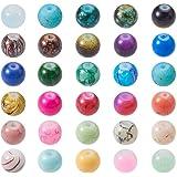 PandaHall 200pcs de Cada Bolsa Estilo Mezclado y Redondas de Color Cuentas de Vidrio pintadas con Spray Mixtos,12 mm, Agujero