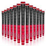 Champkey Multi - Composto impugnature per Golf Club di 13, Antiscivolo, Ecologica Filati di Cotone Filo informatica, Materiale soffice, Super stabilità (Red & Black, Standard Szie)