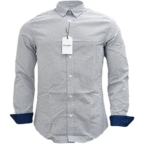 Mens Shirts Ben Sherman a maniche lunghe Slim Fit mod Squares White Large