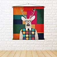 ArtzFolio Deer Hipster Canvas Fabric Painting Tapestry Scroll Art Hanging 8inch x 8inch (20.3cms x 20.3cms)