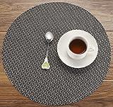 HYSENM 4 Stücke PVC geflochten Tischmatten Tischsets Platzsets Platzdeckchen Platzmatten Placemats Durchmesser 35cm/38cm rund waschbar Kunststoff rutschfest Beige/Grau/Golden/Grün usw, Schwarz Durchmesser 32cm