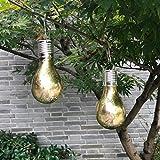 Garten-hängende Lampe wasserdichte Solarlampe drehbare im Freien Garten-kampierende hängende LED-helle Lampen-Birne (Gold)