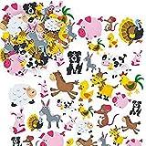 Baker Ross EV3104 Ross schuimrubberstickers dieren op de boerderij voor kinderen, kaarten en knutselprojecten (96 stuks)