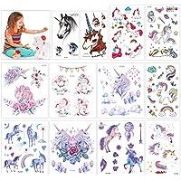 Konsait 130 Brillo Tatuajes temporales Unicornio (12 Hojas), Artículos para Cumpleaños Fiestas Infantiles, Idea de Regalo, Piñata, Unicornio Cumpleaños de Niños