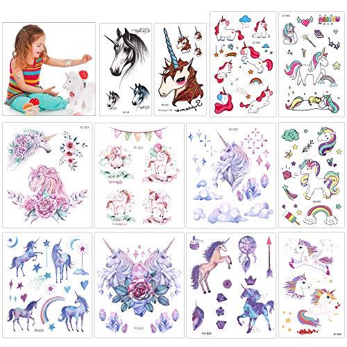 Konsait tatuaggi temporanei per bambini, 130 impermeabile unicorno tatuaggi finti temporanei tattoo adesivi per festa bambini compleanno natale regalo per bambina bambino, bomboniere per ragazze