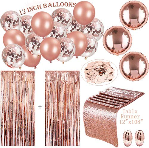 Roségold-Party-Deko-Set, bestehend aus 2 Stück 3 von 8 ft Folie Fringe-Türvorhänge, 12 x 108 Zoll Pailletten-Tischläufer, 20 Stück Ballons und 2 Rollen Folienband für Partybedarf, Rotgold-Konfetti - Fringe-set