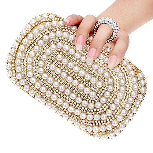 WENDYRAY Abendkupplungen Perlenperlen Clutch für Frau Brautkleid Handtasche Hochzeitsfest Strass Kupplungen Geldbörse,2,S -