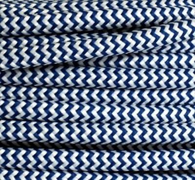 Textilkabel Stoffkabel dunkelblau - weiß, 3-adrig rund , 3x0,75 von Globe Warehouse - Lampenhans.de