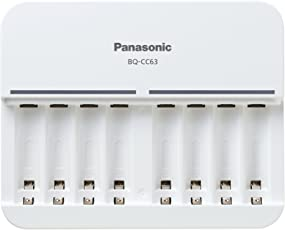Panasonic Battery Eneloop BQ-CC63N Battery Charger for AA AAA Ni-MH Battery with 8 LED Indicators (White)