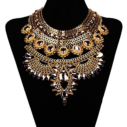 Beauty7 Collier Indien Fantaisie Bijoux Sautoir Pendentif Plastron de Cou Cha?nes de Pull Accessoire de V¨ºtement Dore