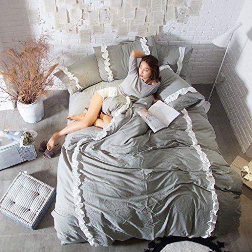 Quilt Kissenbezug Simple Heimtextilien Vierteiliges Bett Gewaschen Baumwolle Atmungsaktiv Komfortabel Kann den Ball Bett Futter nicht leisten ( Color : D , Size : 200*230cm ) (König Tröster Set Blau)