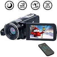 Caméscope Numérique Full HD 1080p Camescope avec Zoom 18X avec Fonctions de Pause et de relecture