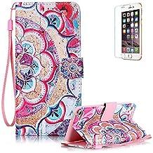 Funyye - Funda de piel de diseño elegante, modelo con flor de loto de colores, soporte a modo de libro, tipo cartera, con película protectora para iPhone 5/5S y iPhone SE