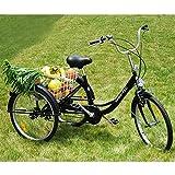 24 Zoll Dreirad für Erwachsene, 6 Gang Senioren Shopping Fahrrad mit Korb Schwarz