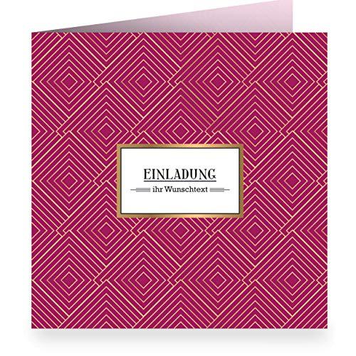 Set 24 x Edle grafische Einladungskarte mit Wunschtext, rot, zur Hochzeit, Taufe, Geburtstag mit Innendruck (quadratisch 15,5cm + Umschlag) mit Art Deco Muster: Einladung - Freunde, Familie
