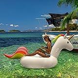 FEMOR FS010/FS011 Riesiges Aufblasbar Einhorn Schwimmtier, Einhorn Pool, Luftmatratzen, Aufblasbar schwimmen Floß, Schwebebett für 1-3 Personen, Insel für Pool (M)