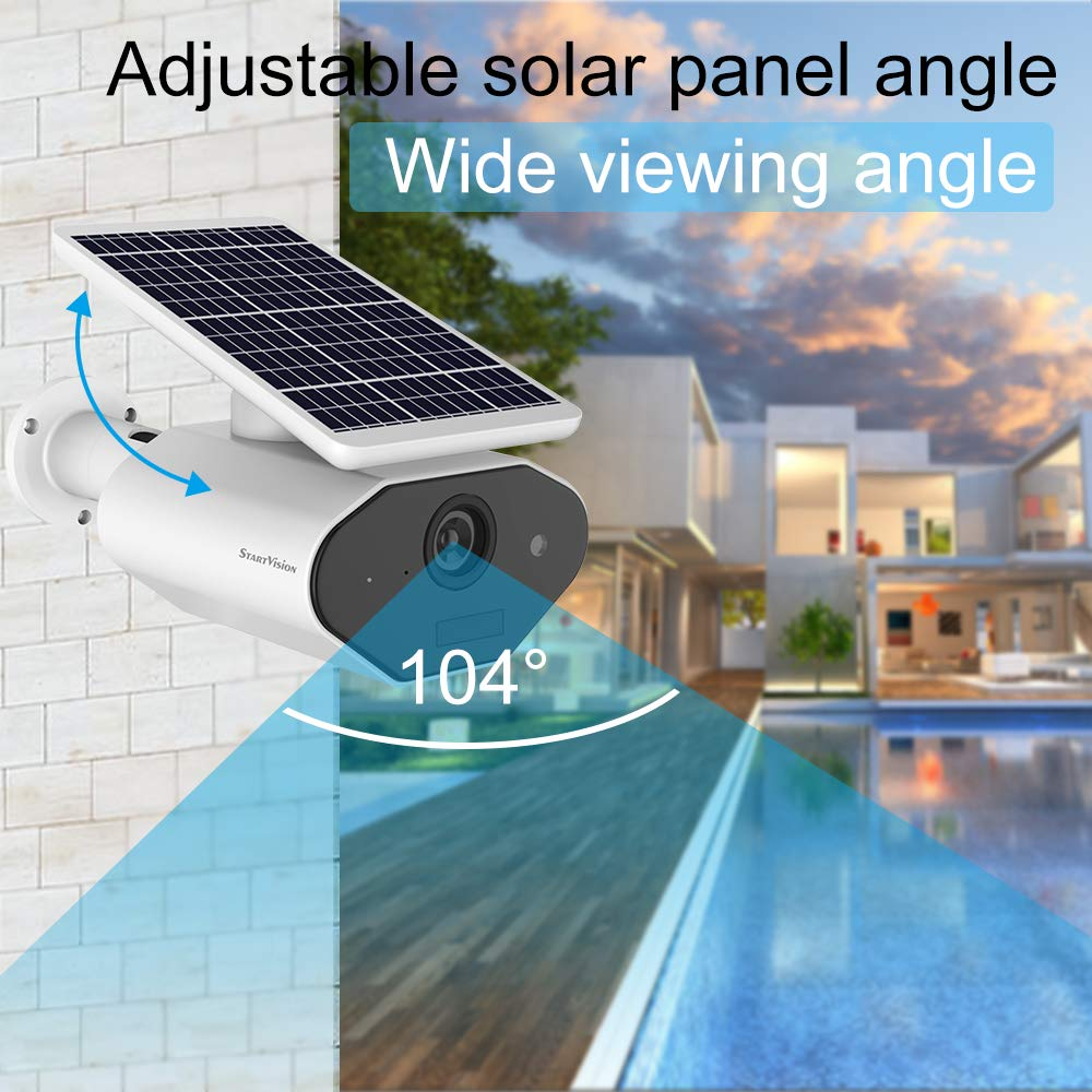 StartVision Solar Powered Security Camera, Wireless Wifi Home Camera Outdoor 2.4GHz Wifi Camera With Motion Detection Night Vision, Wire Free Surveillance Camera Built In Battery, IP66 Waterproof - Tenty.co.uk