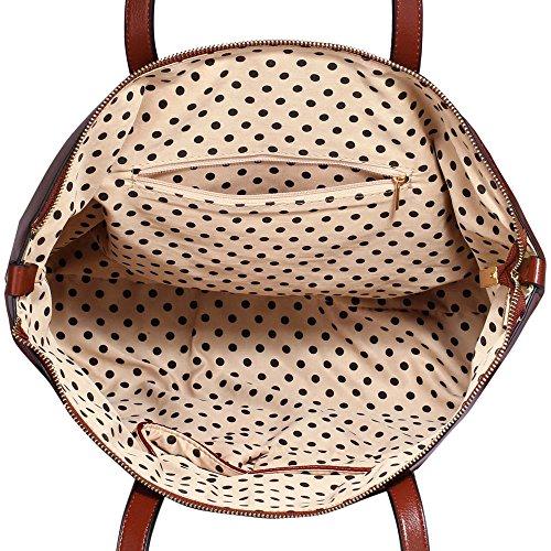 TrendStar Frauen Designer Taschen Patent Schulter Berühmtheit Stil Trage Damen Mode Handtaschen (C - Rot) C - Braun