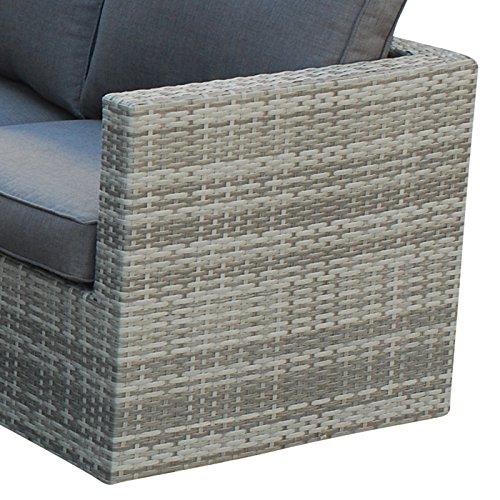 POLY RATTAN Sitzgruppe Sofa Lounge Set grau - 5