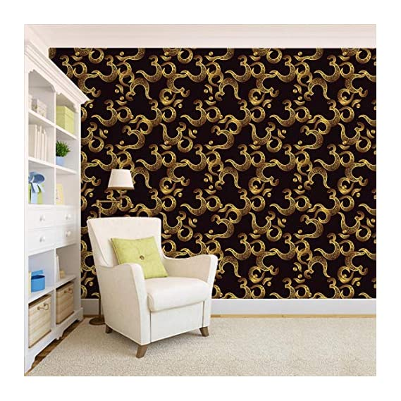 100Yellow? Golden Om Printed Self Adhesive Peel And Stick Waterproof Hd Wallpaper (Pvc Vinyl, 10.66 X 12 Ft, Multicolour)