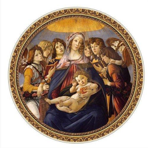 Puzzle 525 Teile rund - Meister der Renaissance - Botticelli : Madonna della Melagra (Madonna Botticelli)