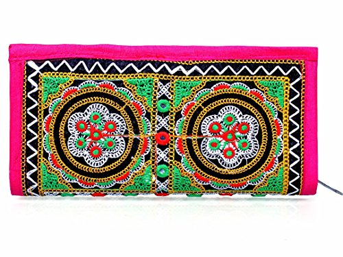 Para Ladies Traditional Hand Clutch Women Flower Design Wallet, Pink  available at amazon for Rs.199