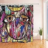 GoHEBE Creative, Graffiti-Vorhang für die Dusche 180,3x 180,3cm Schimmelresistent, Polyesterstoff,